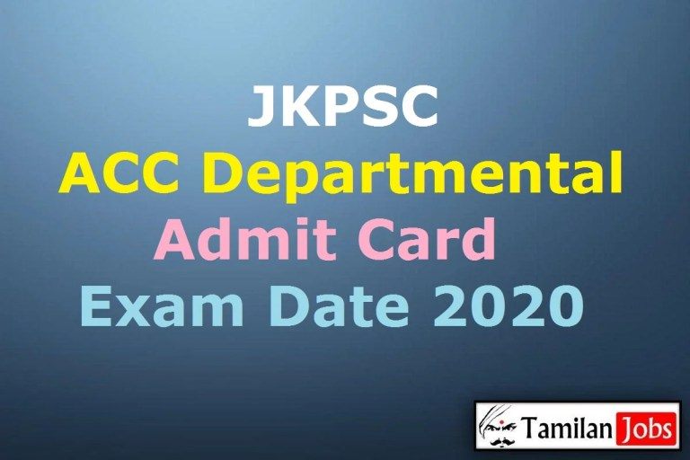 JKPSC ACC Admit Card 2020, Accounts Clerk Course Departmental Exam Date (Out)
