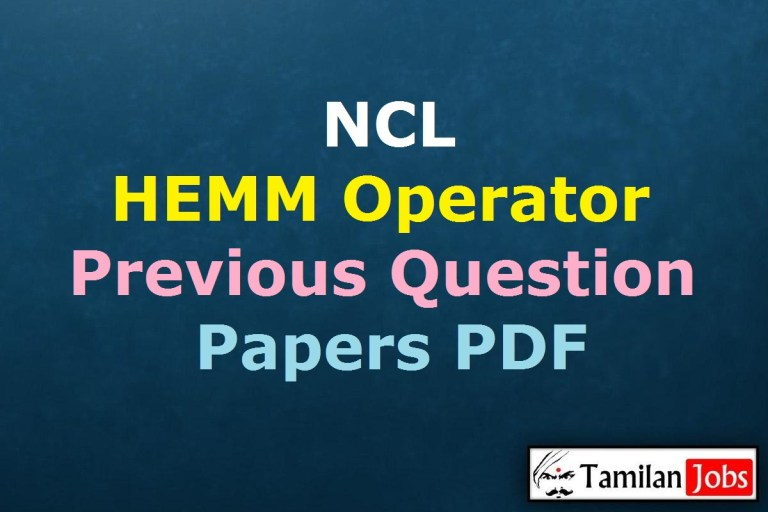 NCL HEMM Operator Previous Question Papers PDF Download @ nclcil.in