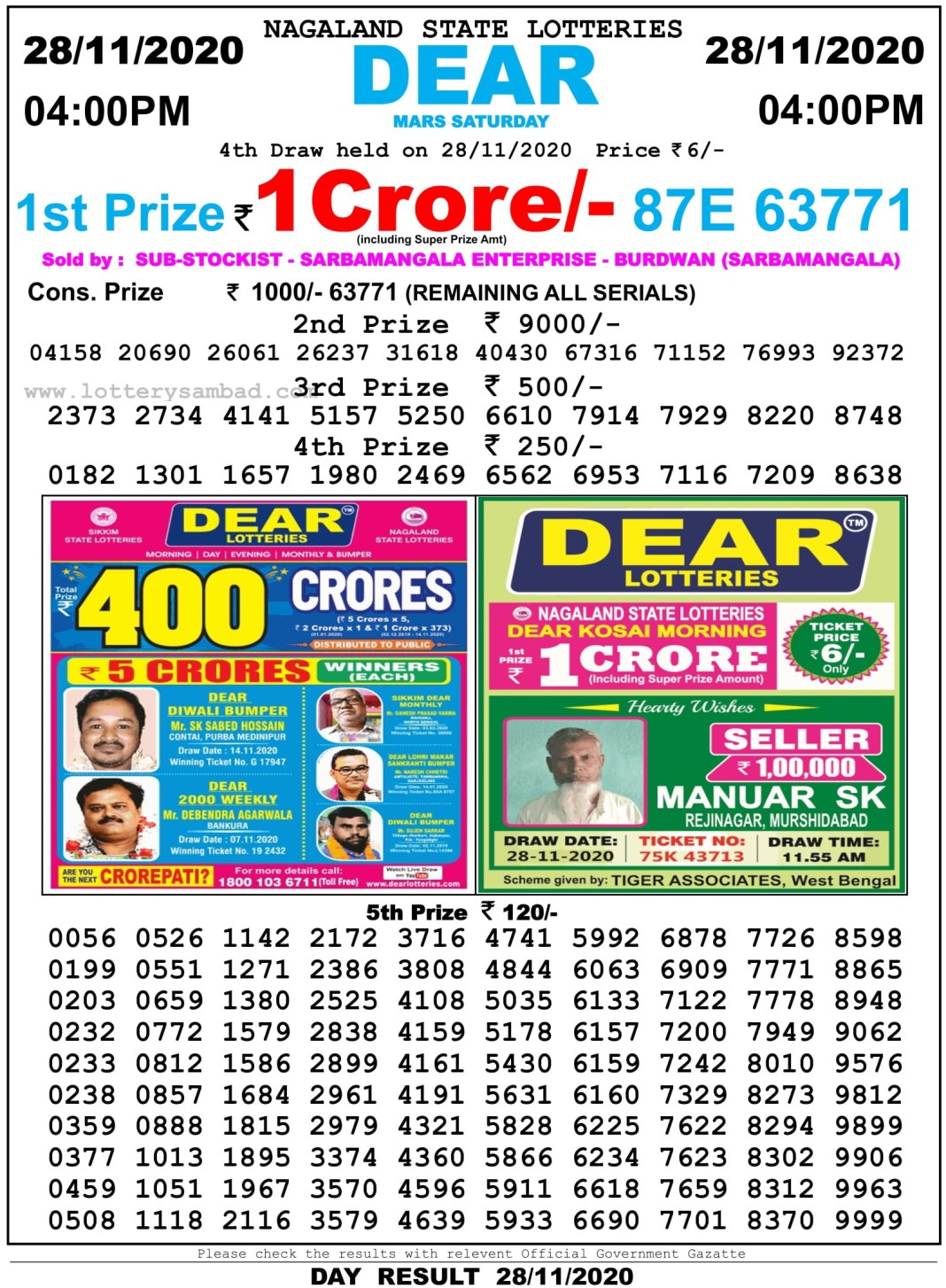 Nagaland State Lottery Result 4 PM 28.11.2020