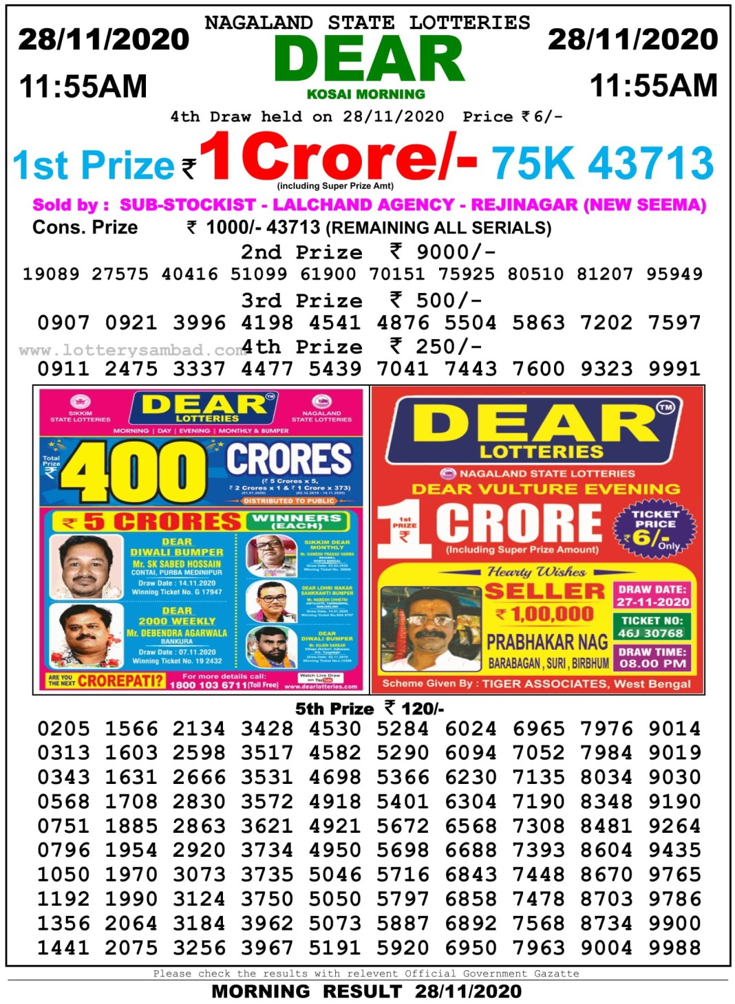 Sikkim State Lottery Result 11.55 AM 28.11.2020