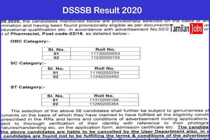 DSSSB Lab Assistant, Pharmacist Result 2020 Out | Download Now!!
