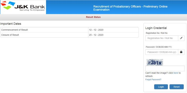 JK Bank PO Result 2020 (OUT), Probationary Officer Cut Off Marks, Merit List