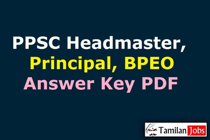 PPSC Headmaster Answer Key 2020 PDF (OUT), Principal, BPEO Solution Key