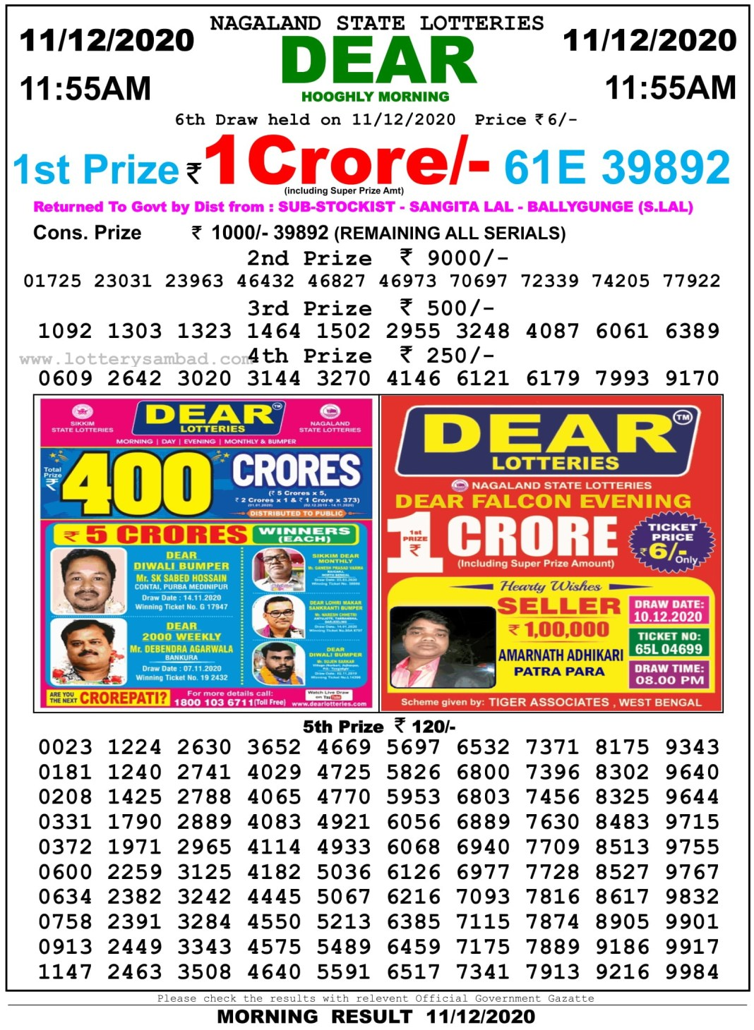 Sikkim State Lottery Result 11.55 AM 11.12.2020