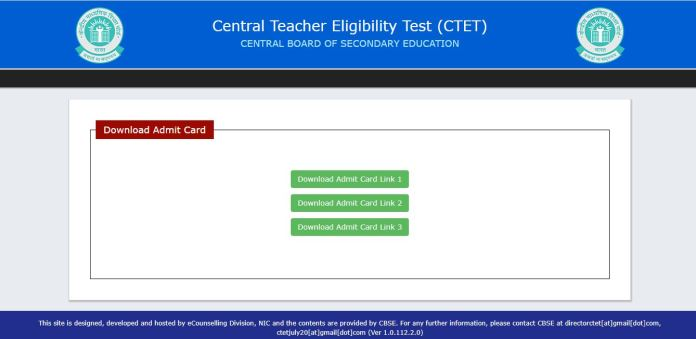 CTET Admit Card 2021 (OUT) @ ctet.nic.in, Exam Date