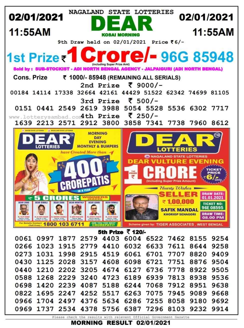 Dear Lottery Sambad 11.55 AM Result on 3.1.2021