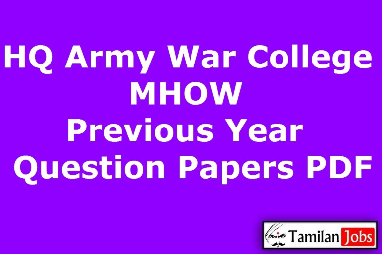 HQ Army War College MHOW Previous Year Question Papers PDF