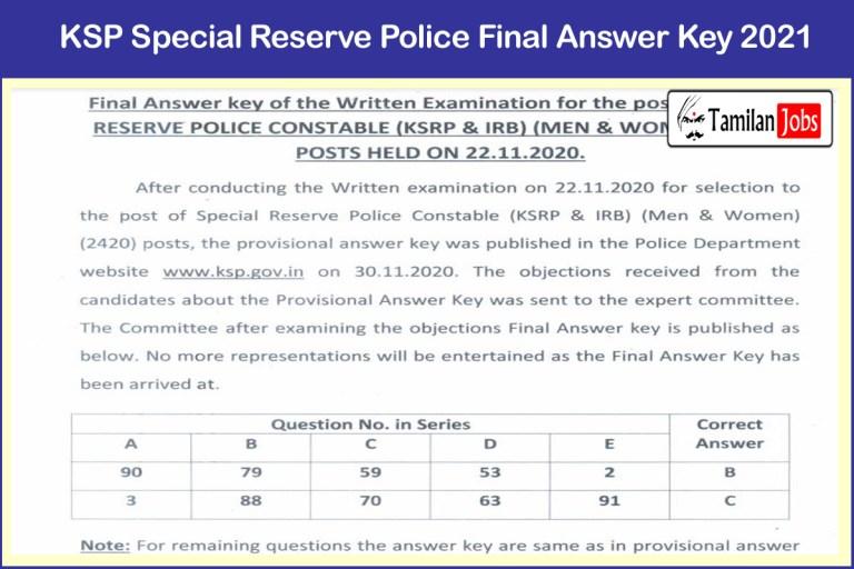 KSP Special Reserve Police Constable Final Answer Key 2021 PDF Released @ ksp.gov.in