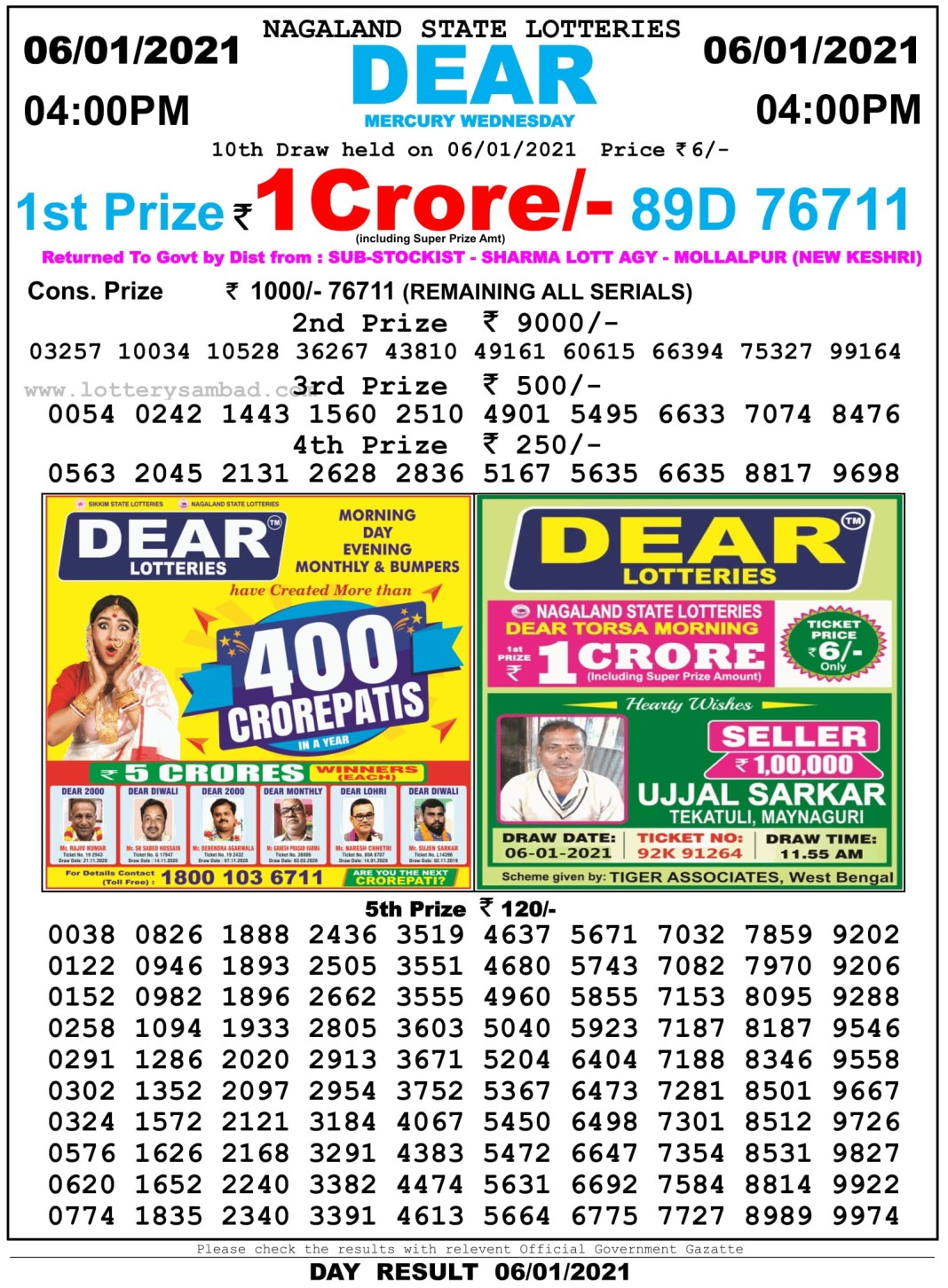 Nagaland State Lottery Result 4 PM 6.1.2021