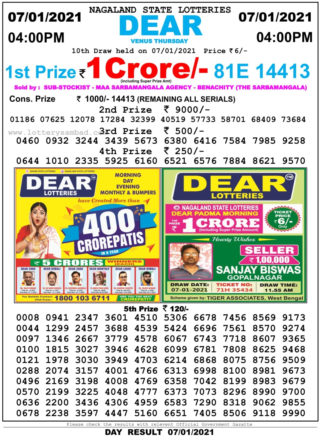 Nagaland State Lottery Result 4 PM 7.1.2021