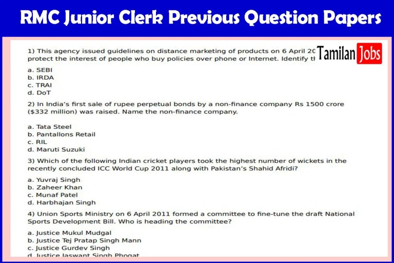 RMC Junior Clerk Previous Question Papers PDF@ rmc.gov.in