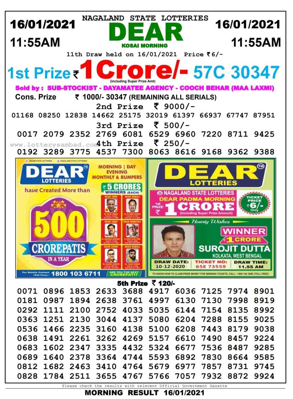 Sikkim Lottery Sambad 11.55 AM Result on 16.1.2021