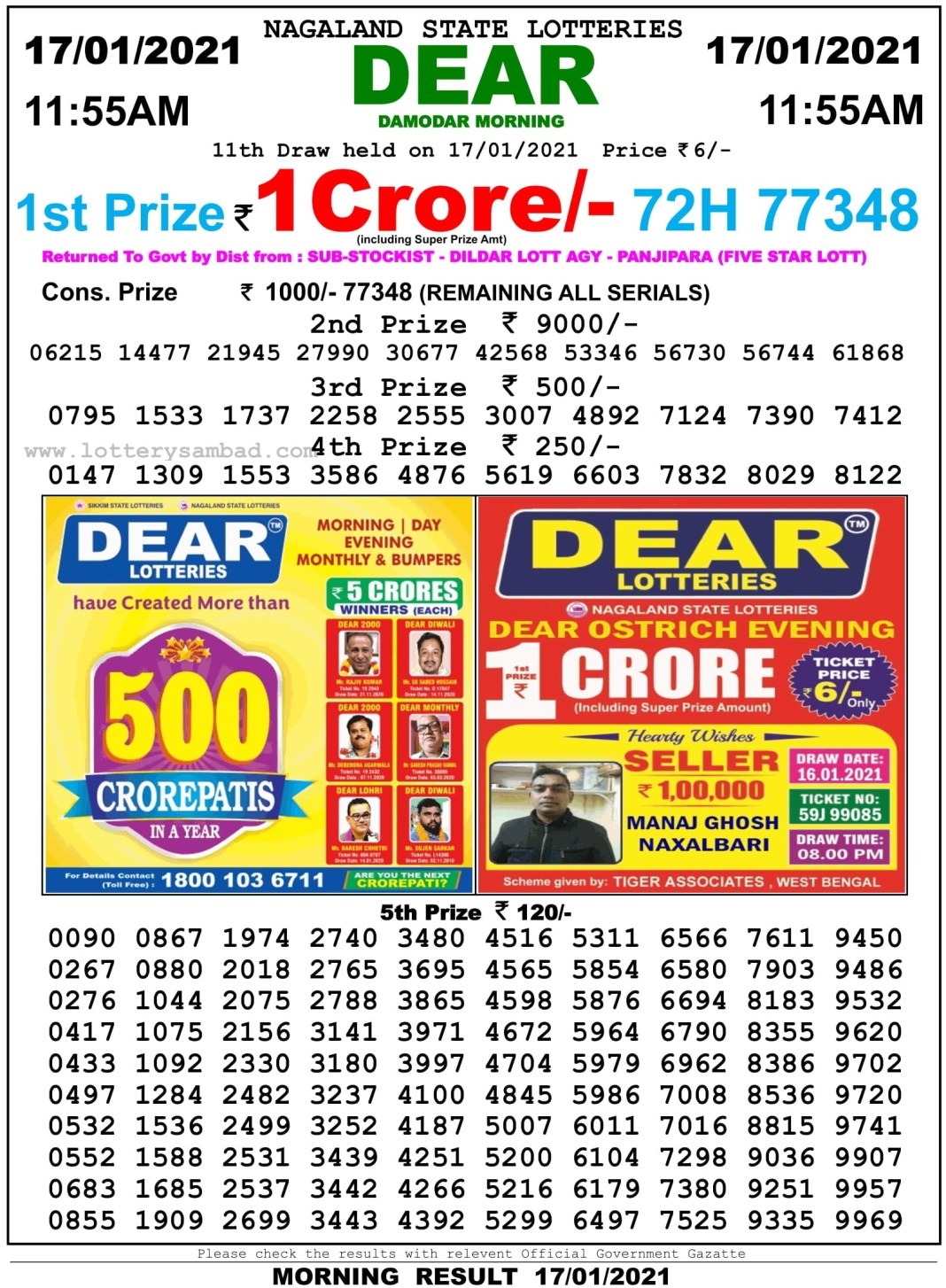 Sikkim State Lottery Result 11.55 AM 17.1.2021