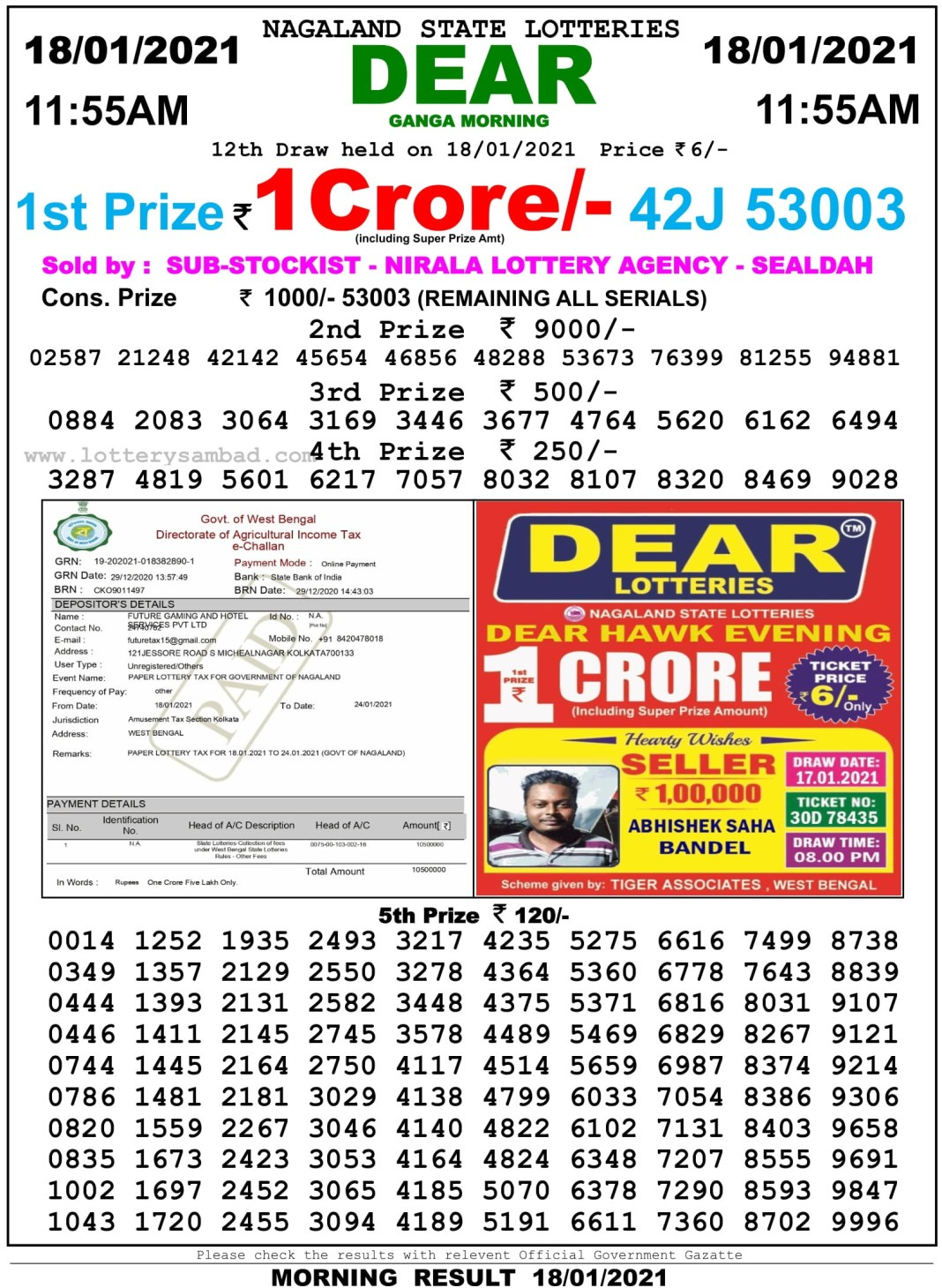 Sikkim State Lottery Result 11.55 AM 18.1.2021
