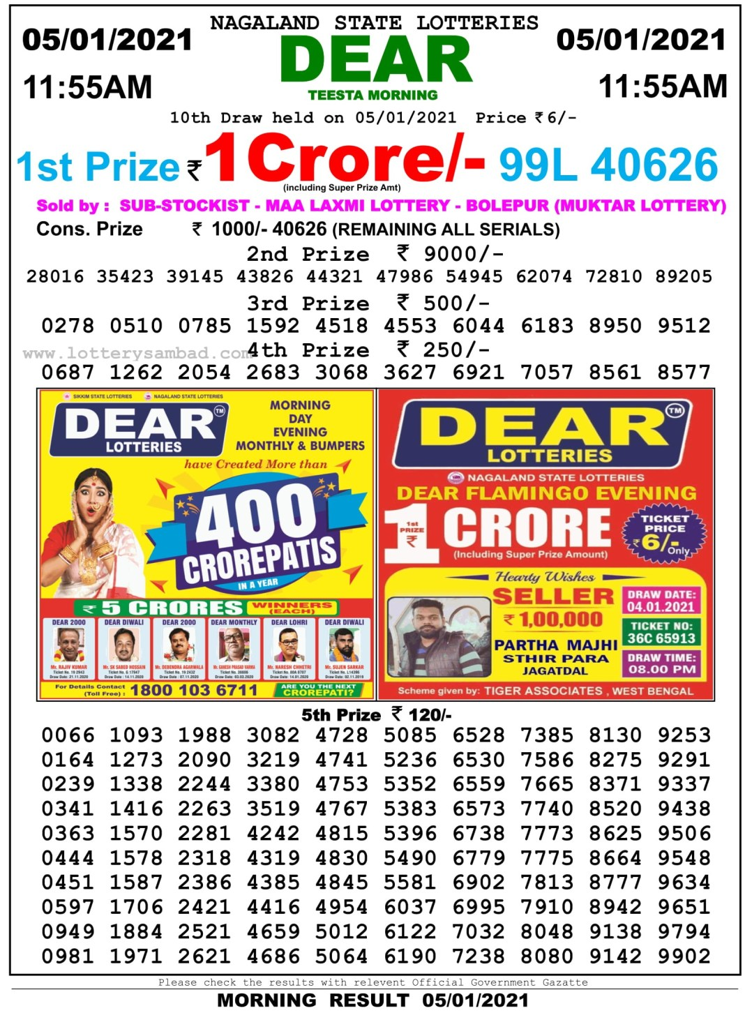 Sikkim State Lottery Result 11.55 AM 5.1.2021