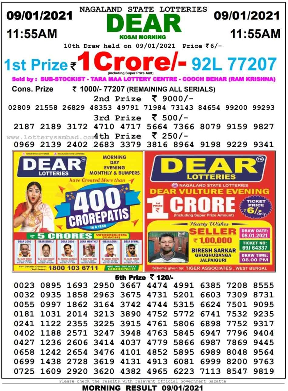Sikkim State Lottery Result 11.55 AM 9.1.2021