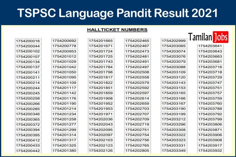 TSPSC Language Pandit Result 2021 (Out)   Assistant Cut Off, Merit List @ www.tspsc.gov.in