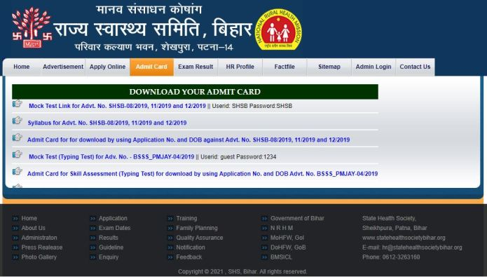 NHM Bihar Accountant Admit Card 2021, Accounts Assistant Exam Date