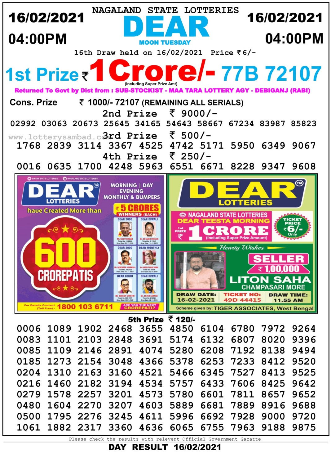 Nagaland State Lottery Result 4 PM 16.2.2021