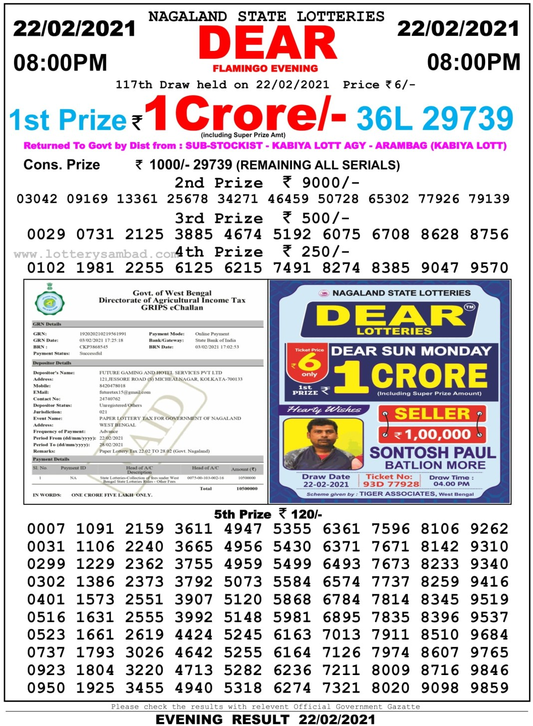 Nagaland State Lottery Result 8 PM 22.2.2021