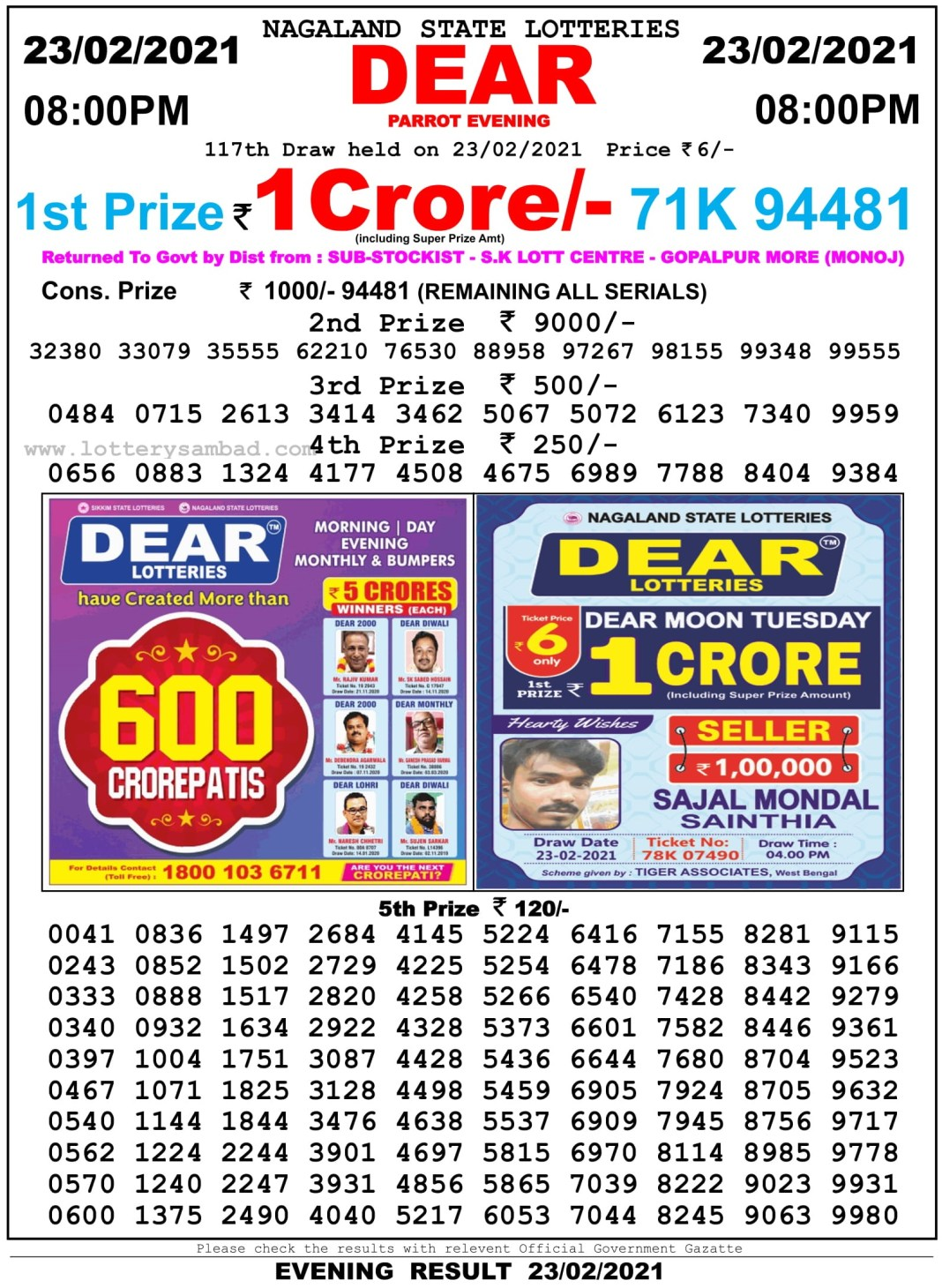 Nagaland State Lottery Result 8 PM 23.2.2021