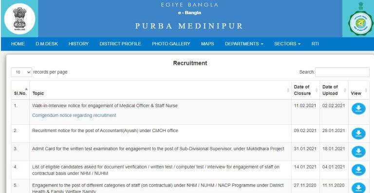 Purba Medinipur District Sub Divisional Supervisor Answer Key 2021 PDF @ purbamedinipur.gov.in