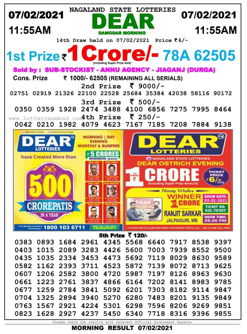 Sikkim Lottery Sambad 11.55 AM Result on 7.2.2021