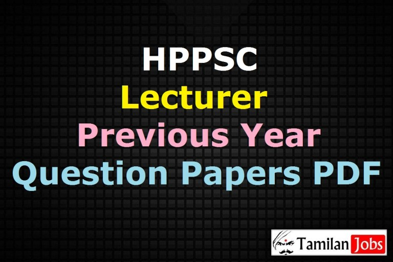 HPPSC Lecturer Previous Year Question Papers PDF
