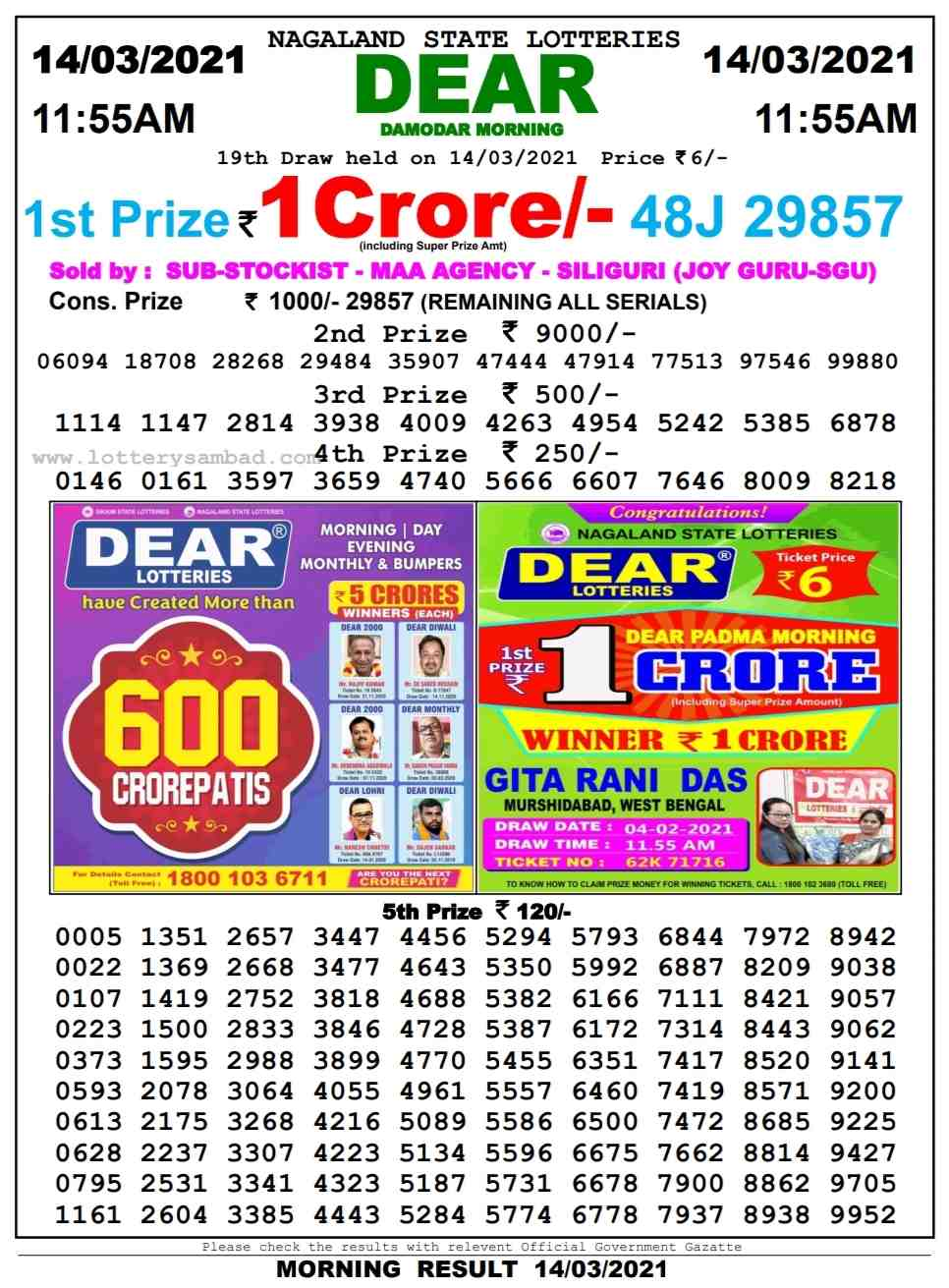 Lottery sambad 11.55 AM Result on 14.3.2021