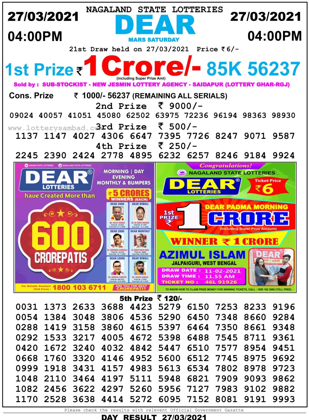 Nagaland State Lottery Result 4 PM 27.3.2021