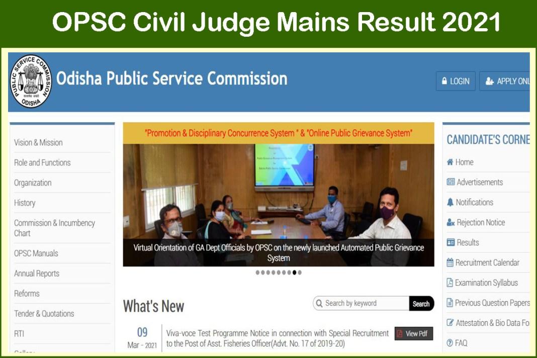 OPSC Civil Judge Mains Result 2021