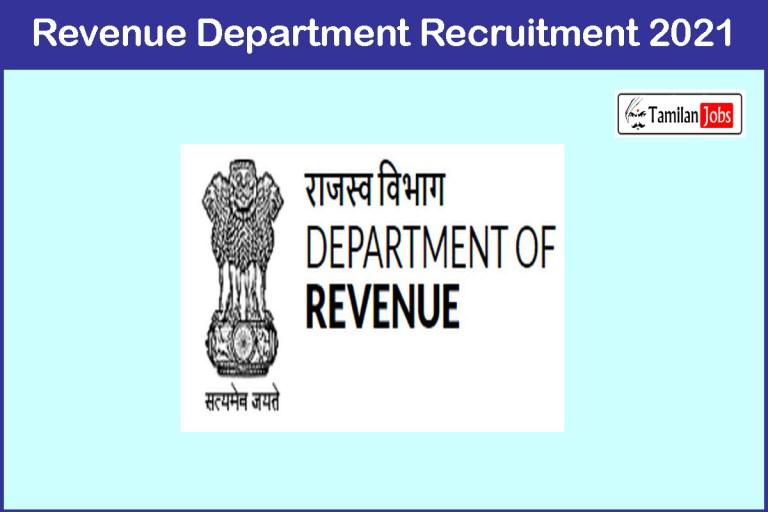 Revenue Department Recruitment 2021 Out – Apply Online Registrar Jobs