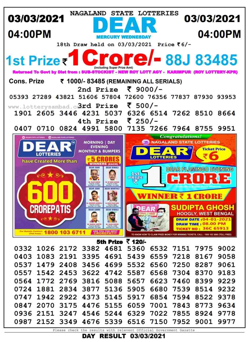 Sikkim Lottery sambad 4 PM Result on 3.3.2021