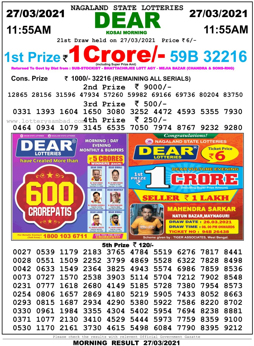Sikkim State Lottery Result 11.55 AM 27.3.2021