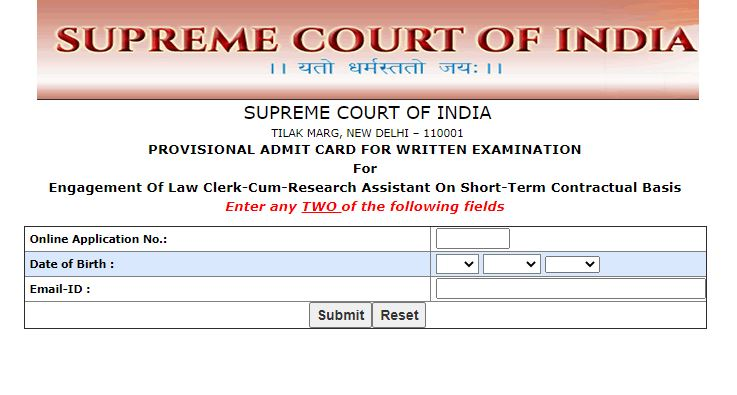 Supreme Court of India Law Clerk Admit Card 2021 (Out), SCI Research Assistant Exam Date