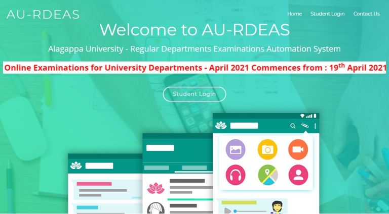 Alagappa University Hall Ticket 2021 (Out), April 2021 Online Exam for Regular Students
