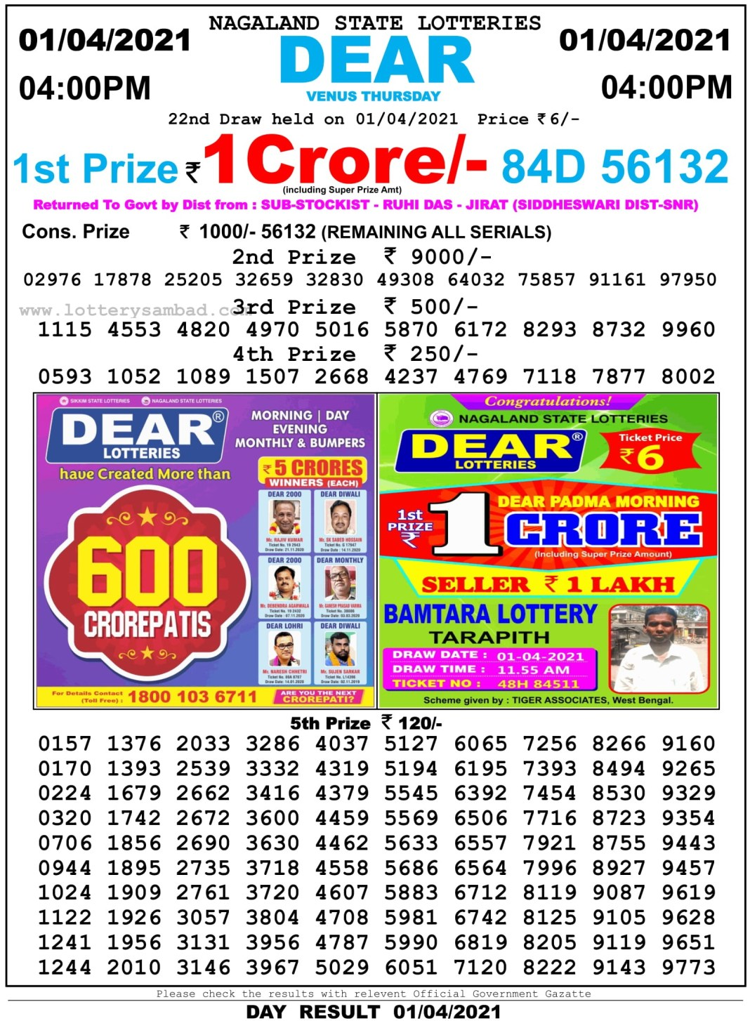 Nagaland State Lottery Result 4 PM 1.4.2021