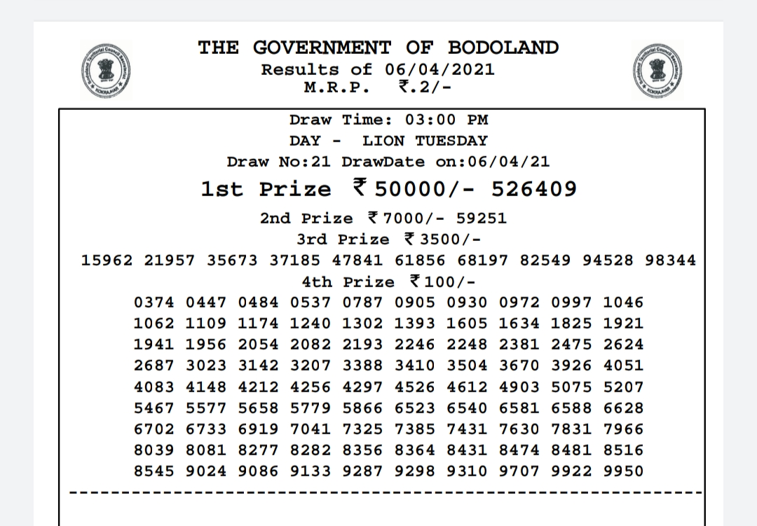 Bodoland lottery Result Today 6-4-2021