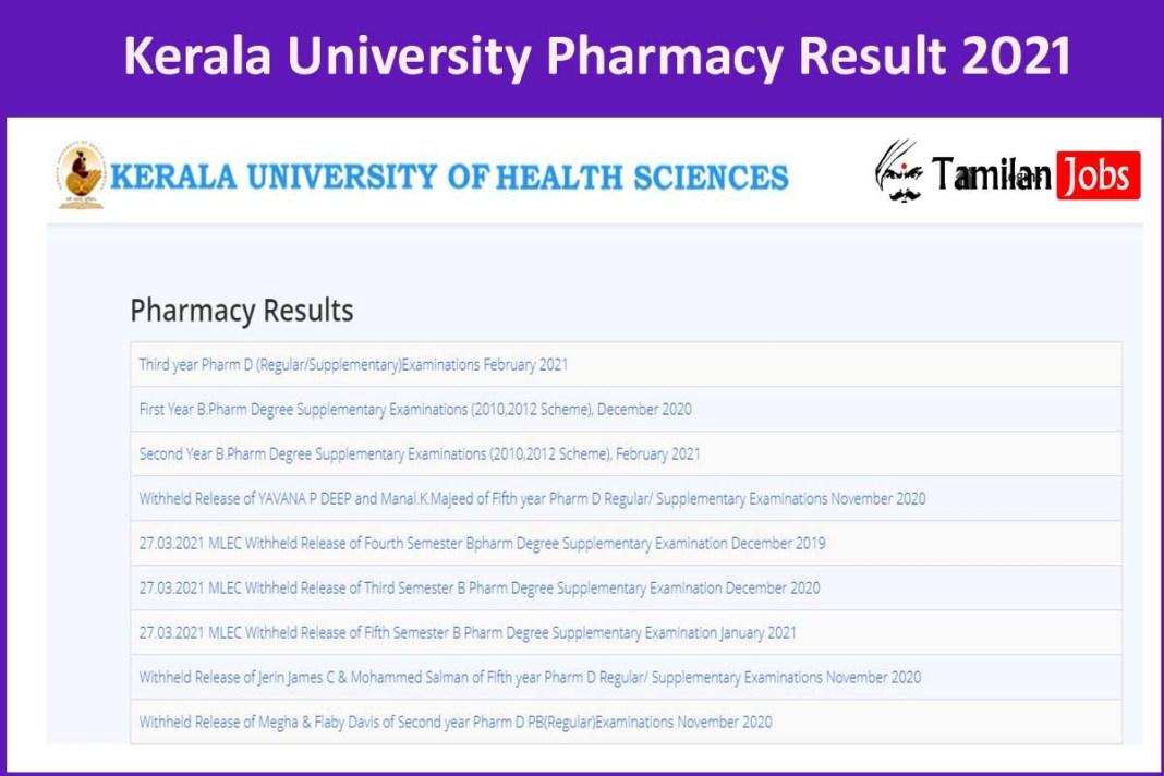 Kerala University Pharmacy Result 2021