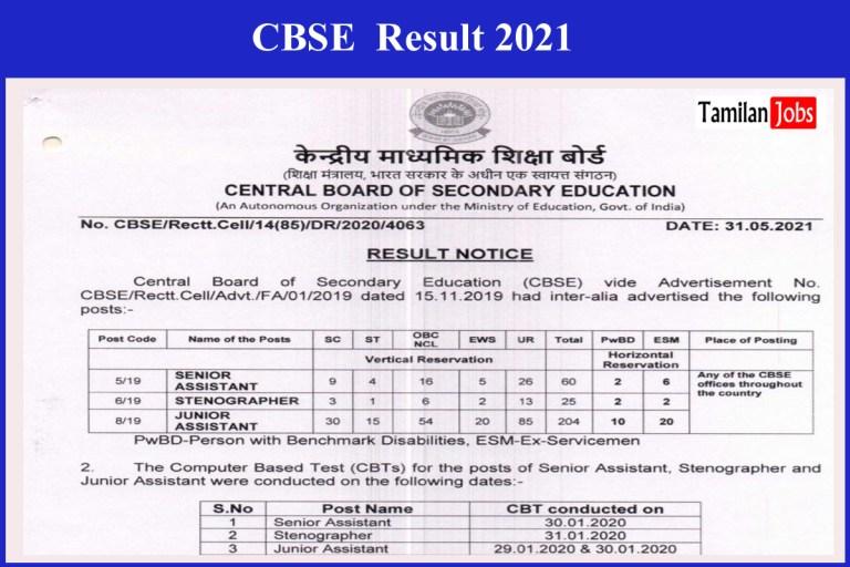 CBSE Junior Assistant Result 2021 (Released) | Check Senior Assistant, Stenographer Merit List @ cbse.nic.in