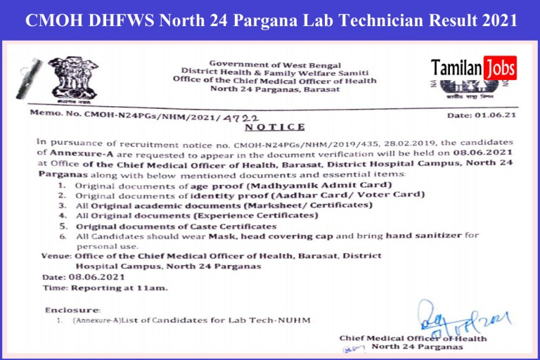 CMOH DHFWS North 24 Pargana Lab Technician Result 2021 (Released)