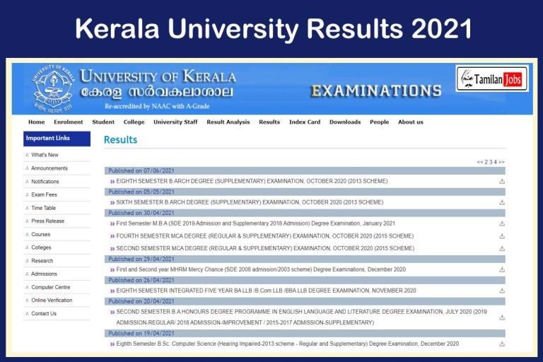 Kerala University Results 2021 (Announced)   Check Semester Marks @ exams.keralauniversity.ac.in