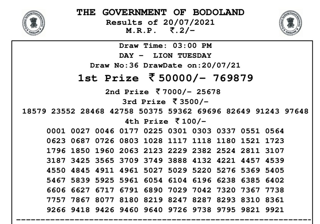 Bodoland Lottery Result Today 21.7.2021