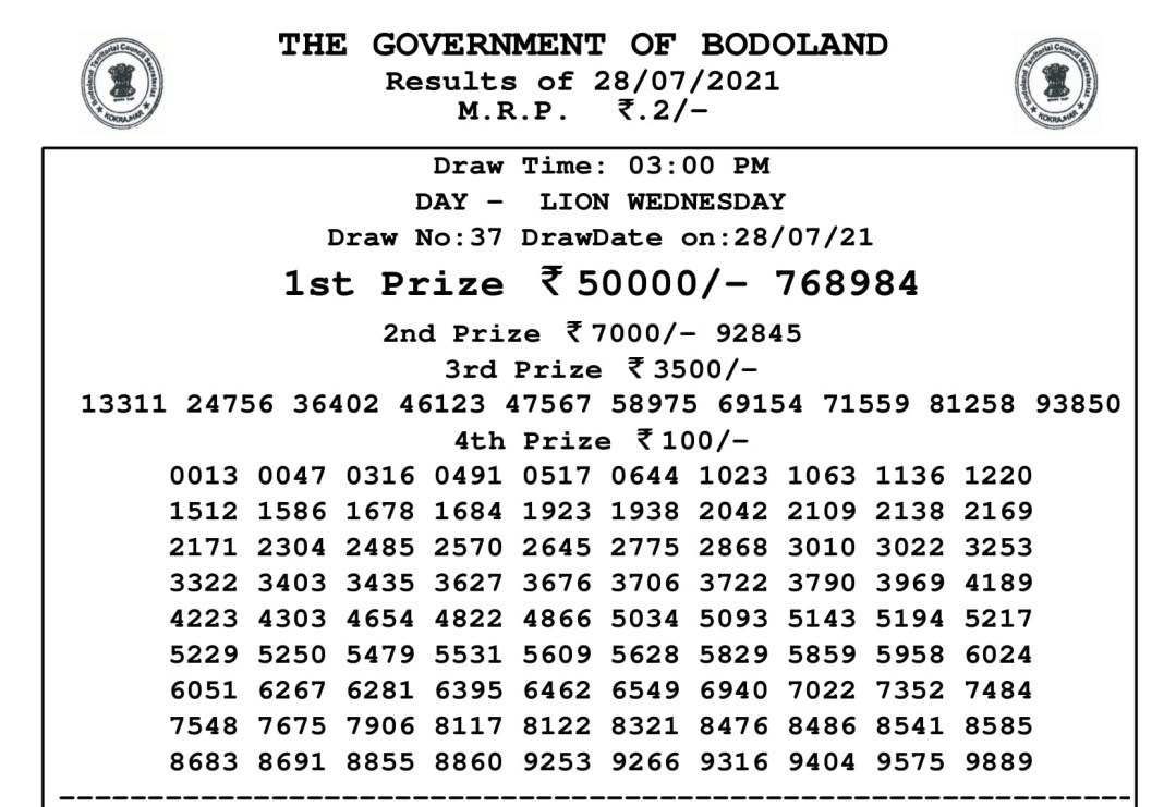 Bodoland Lottery Result Today 28.7.2021 at 3 PM