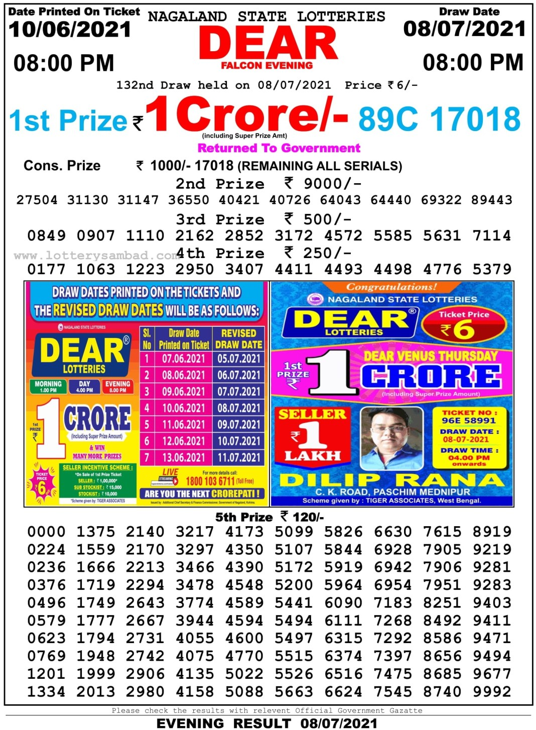 Nagaland State Lottery Result 8.7.2021 at 8 PM