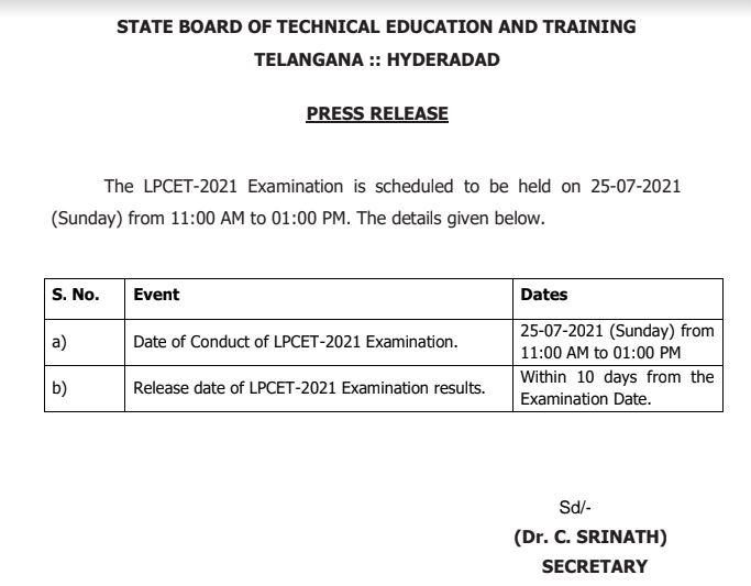 TS LPCET 2021 Exam Date Released @sbtet.telangana.gov.in