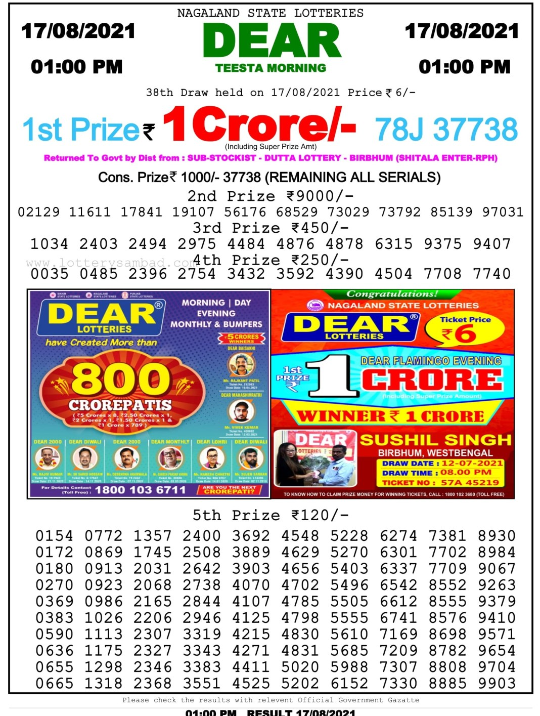 Nagaland State Lottery Result 17.8.2021 at 1 PM