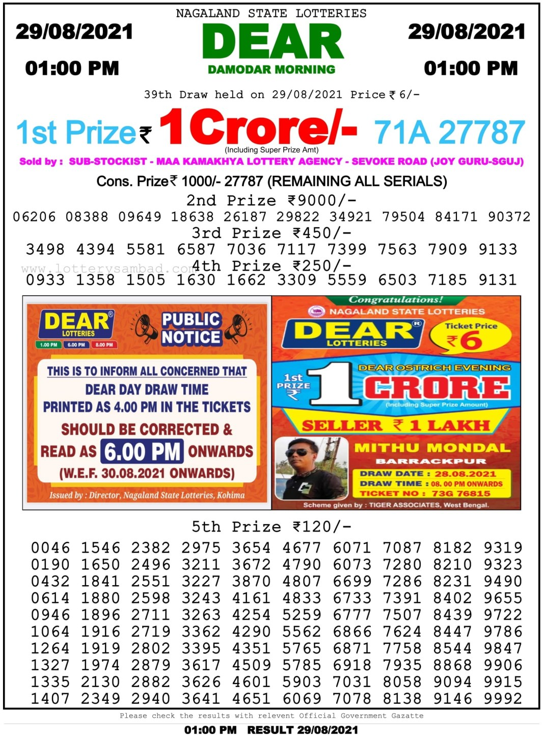 Nagaland State Lottery Result 29.8.2021 at 1 PM