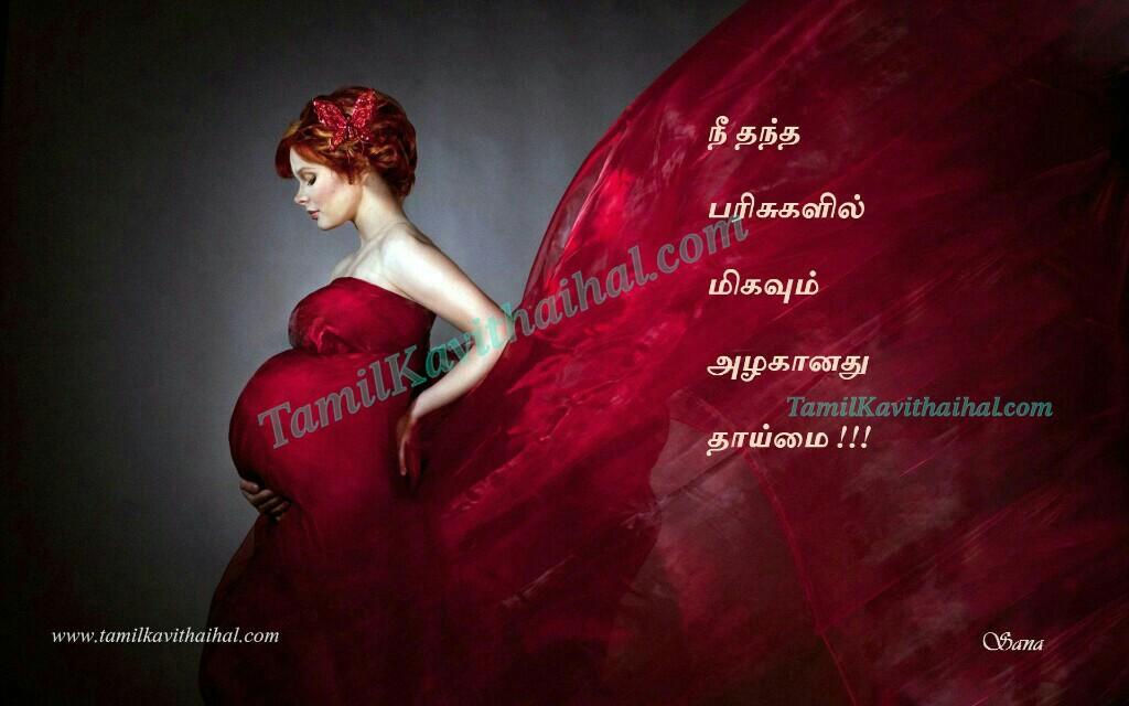 Pregnant Thaimai Red Saree Alagana Kulanthai Tamil Kavithai