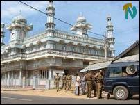 Irumbu- a Police patrol with loud hailers at the orthodox Irumbu Thaikka Mosque Wednesday